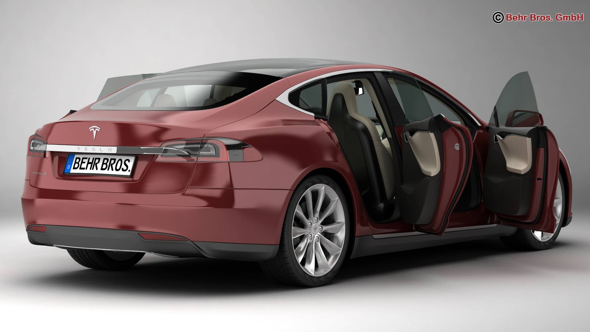 tesla model s 2015 3d model 3ds max fbx c4d lwo ma mb obj 217609