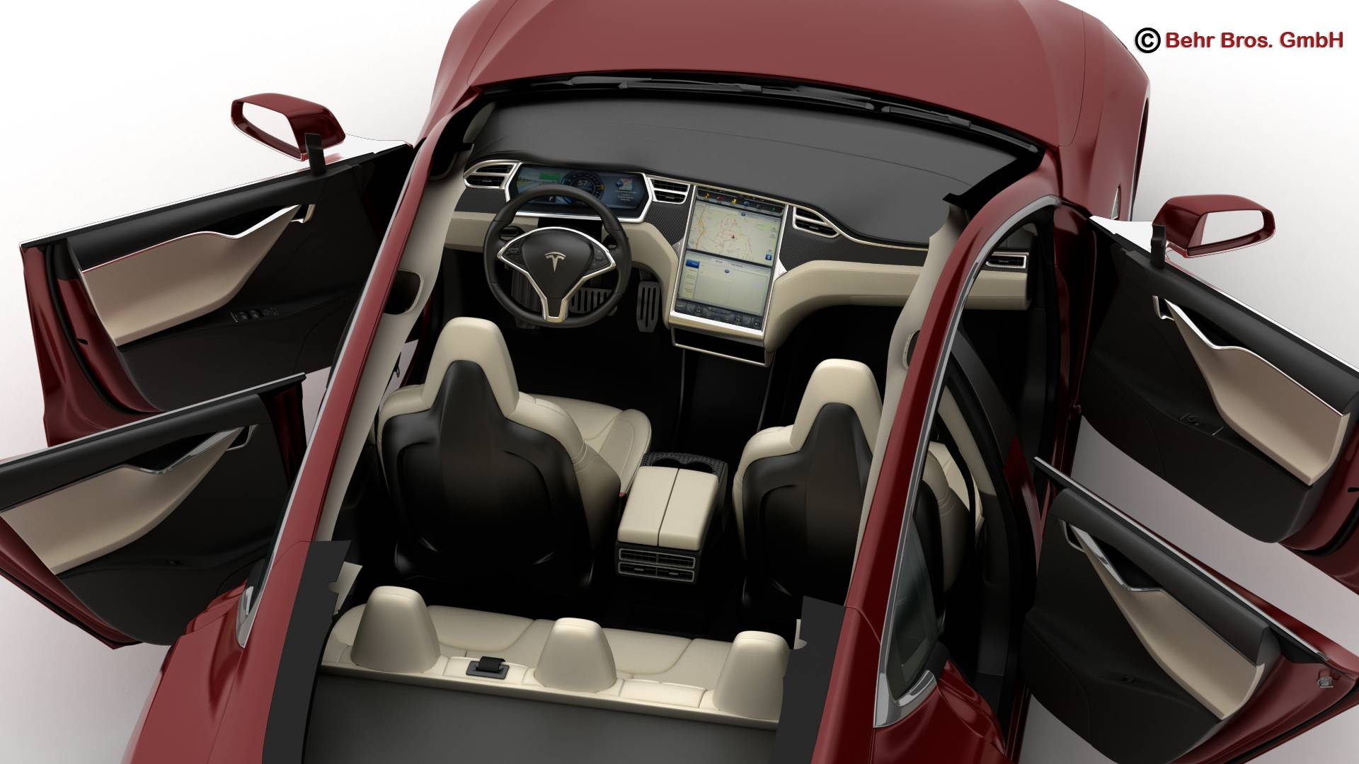 tesla model s 2015 3d model 3ds max fbx c4d lwo ma mb obj 217617