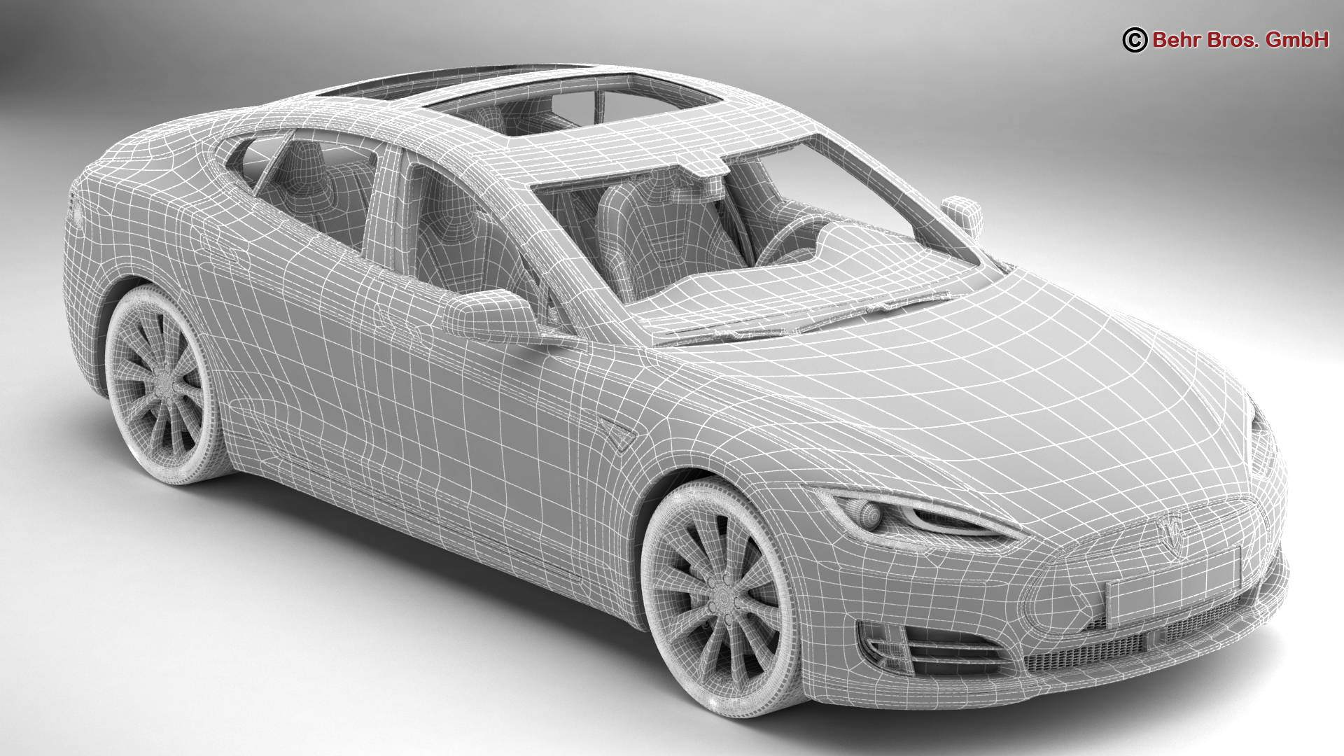 tesla model s 2015 3d model 3ds max fbx c4d lwo ma mb obj 217620
