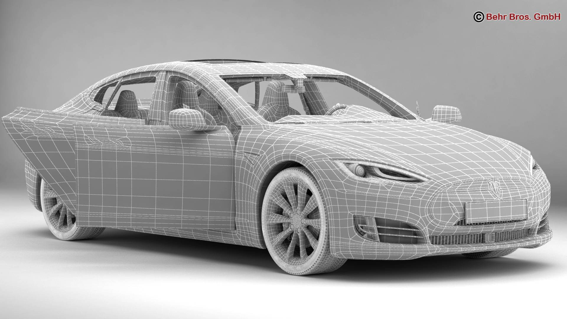 tesla model s 2015 3d model 3ds max fbx c4d lwo ma mb obj 217622