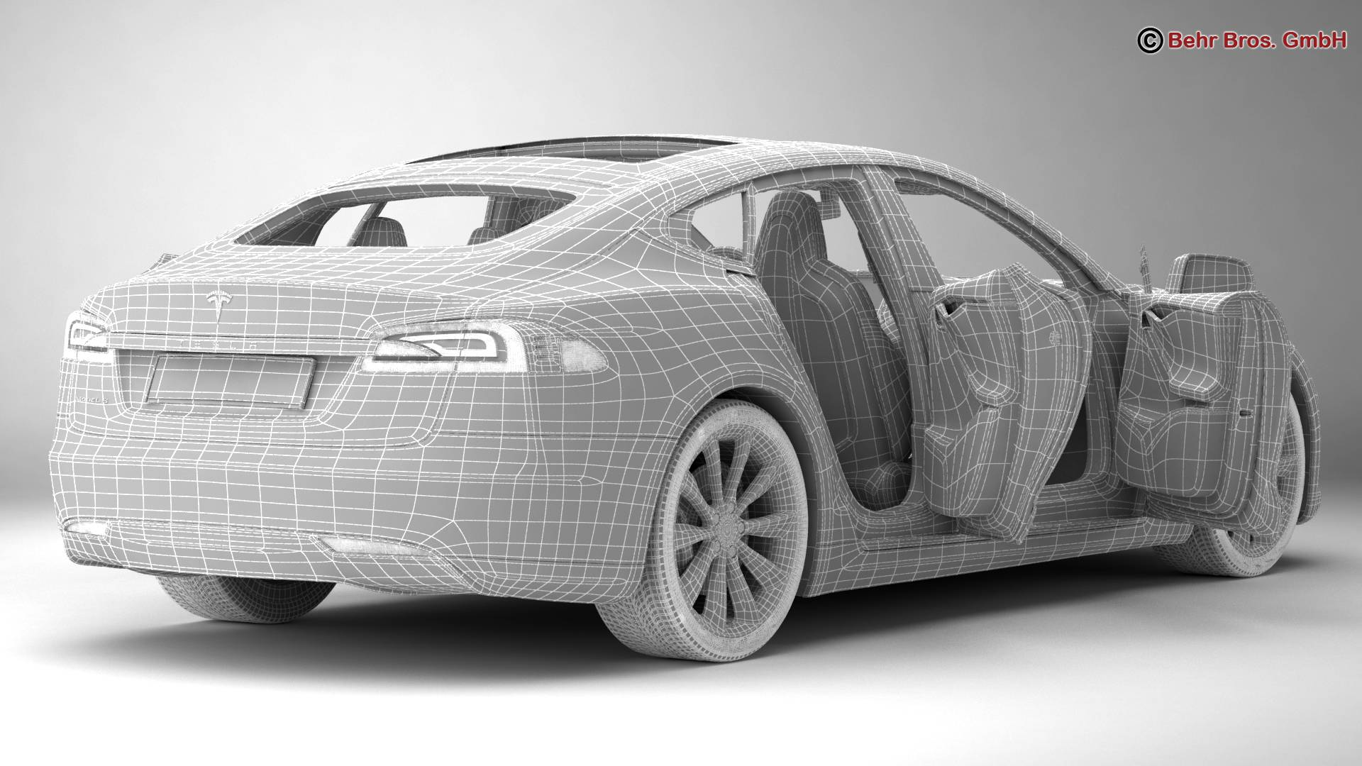 tesla model s 2015 3d model 3ds max fbx c4d lwo ma mb obj 217624