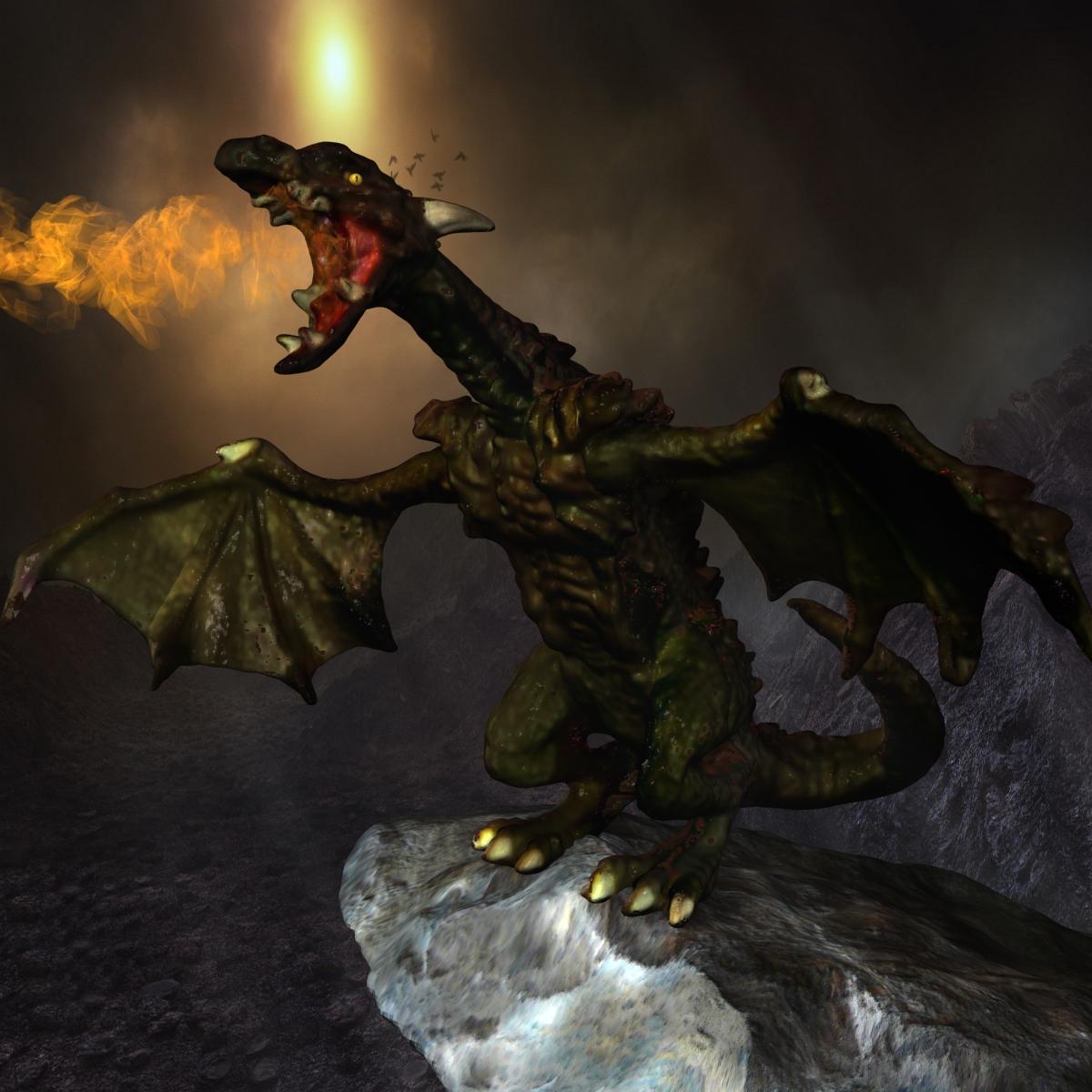çox ətraflı dragon 3d model max fbx obj 217730