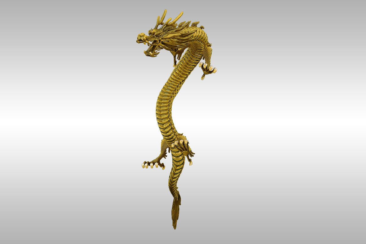 chinese gold dragon rigged 3d model 3ds max 217737