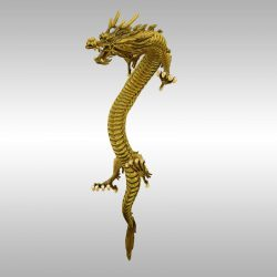 Chinese Gold Dragon rigged 3d model 0