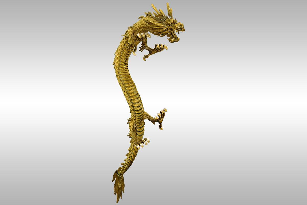 kinesko zlato zmaj namješteno 3d model 3ds max 217738