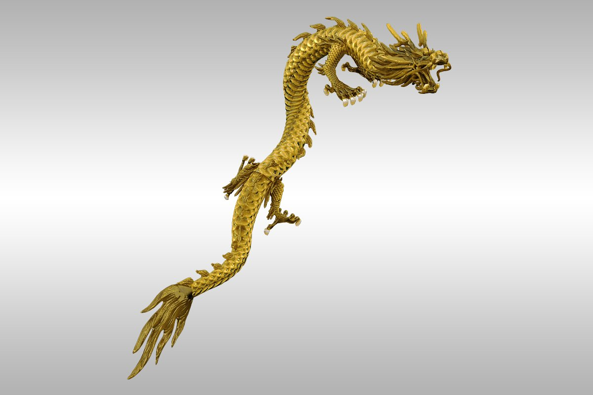 chinese gold dragon rigged 3d model 3ds max 217739