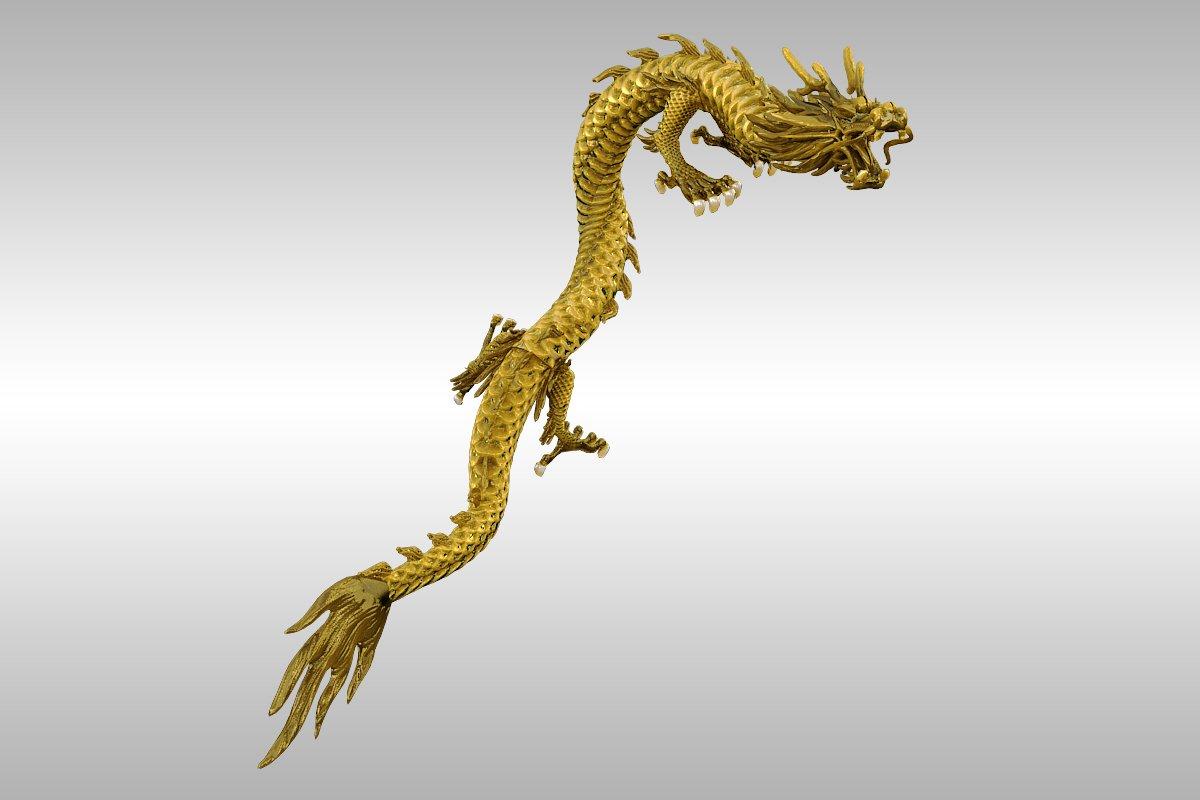 kinesko zlato zmaj namješteno 3d model 3ds max 217739