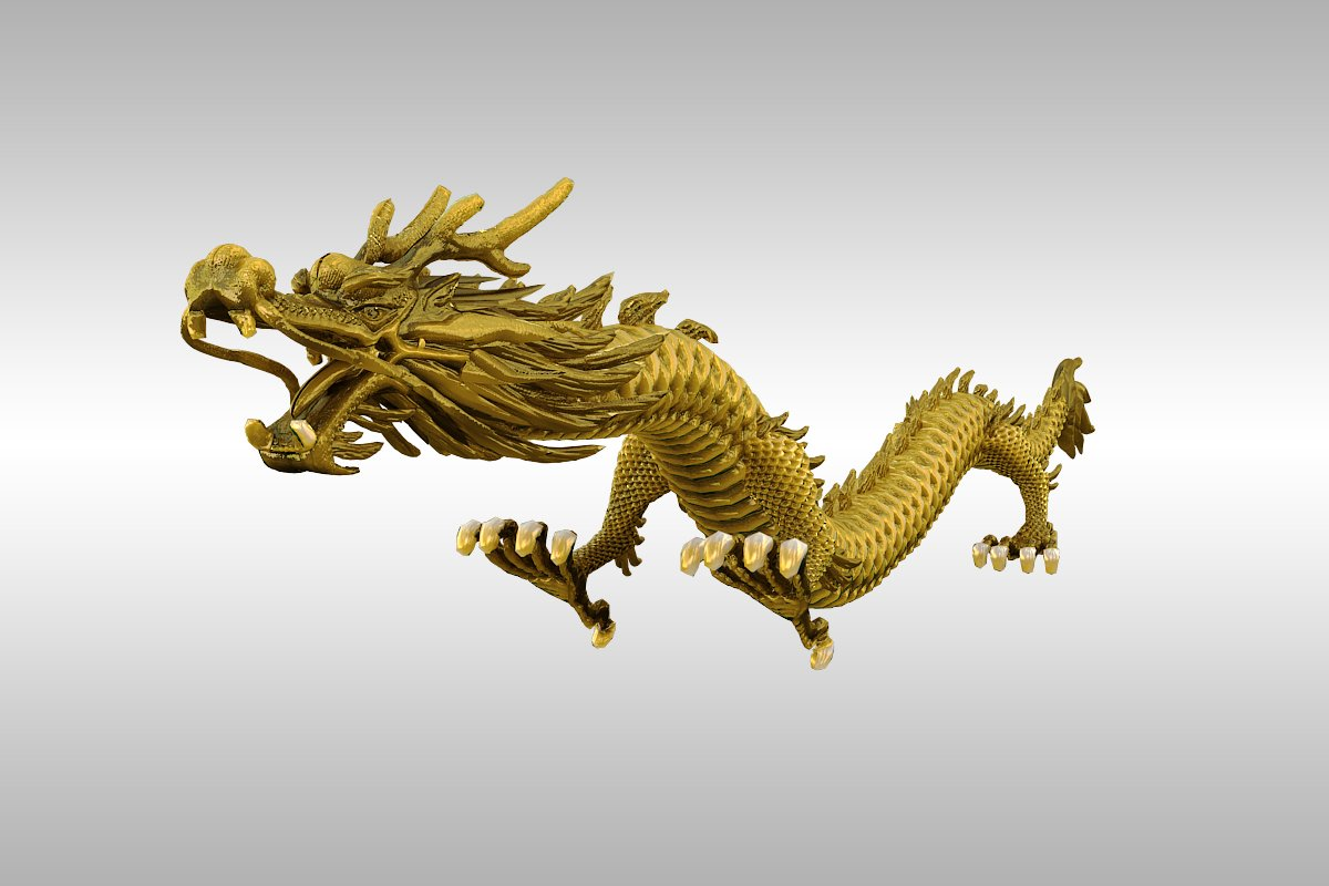 chinese gold dragon rigged 3d model 3ds max 217740