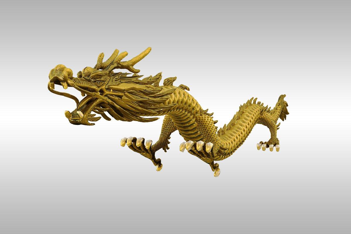 kinesko zlato zmaj namješteno 3d model 3ds max 217740