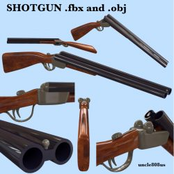 Shotgun fbx and obj 3d model 0