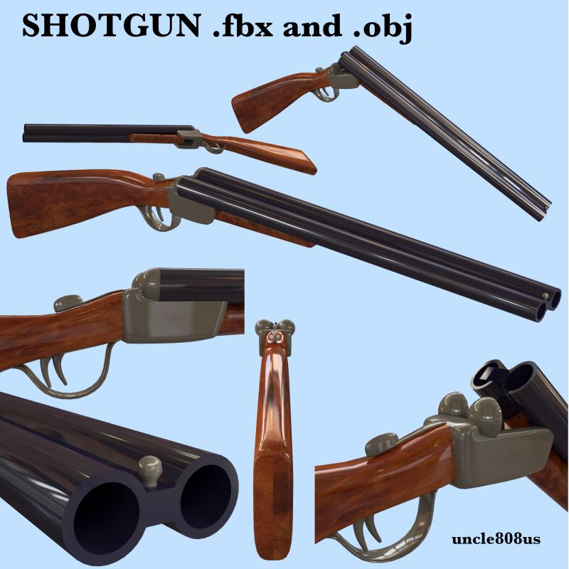Shotgun fbx and obj 3d model fbx 217804