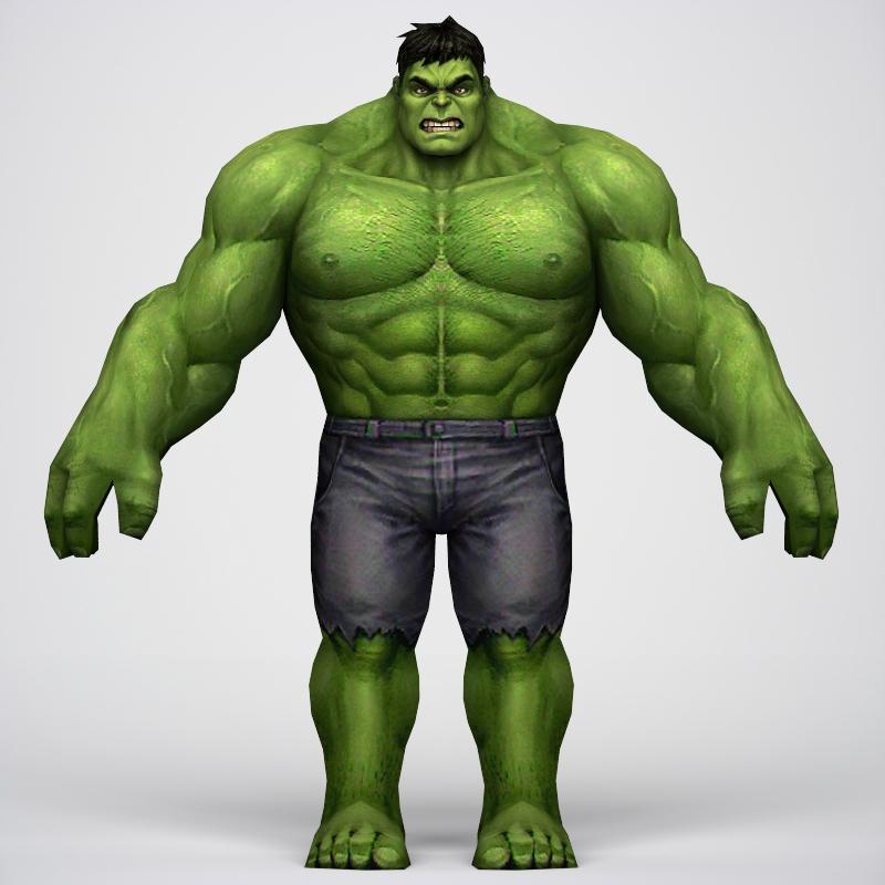 game ready superhero hulk 3d model 3ds max fbx c4d lwo ma mb obj 218044