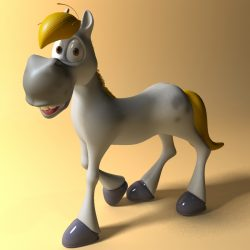 Cartoon Horse Rigged and Animated 3d model 0