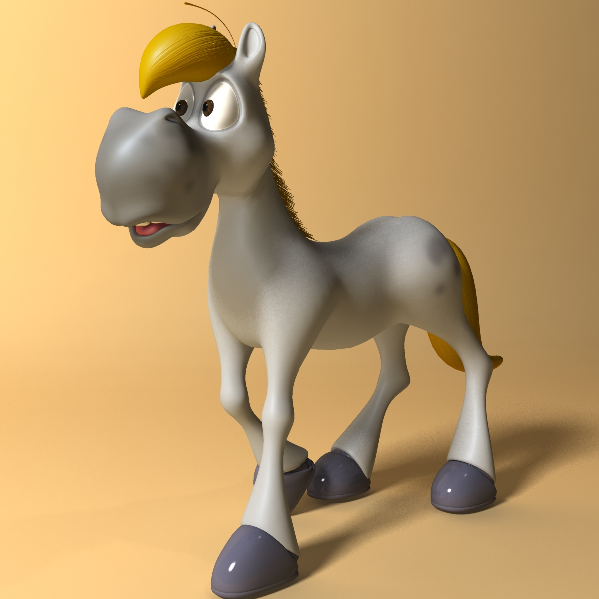 cartoon horse rigged and animated 3d model 3ds max fbx dgn 218089