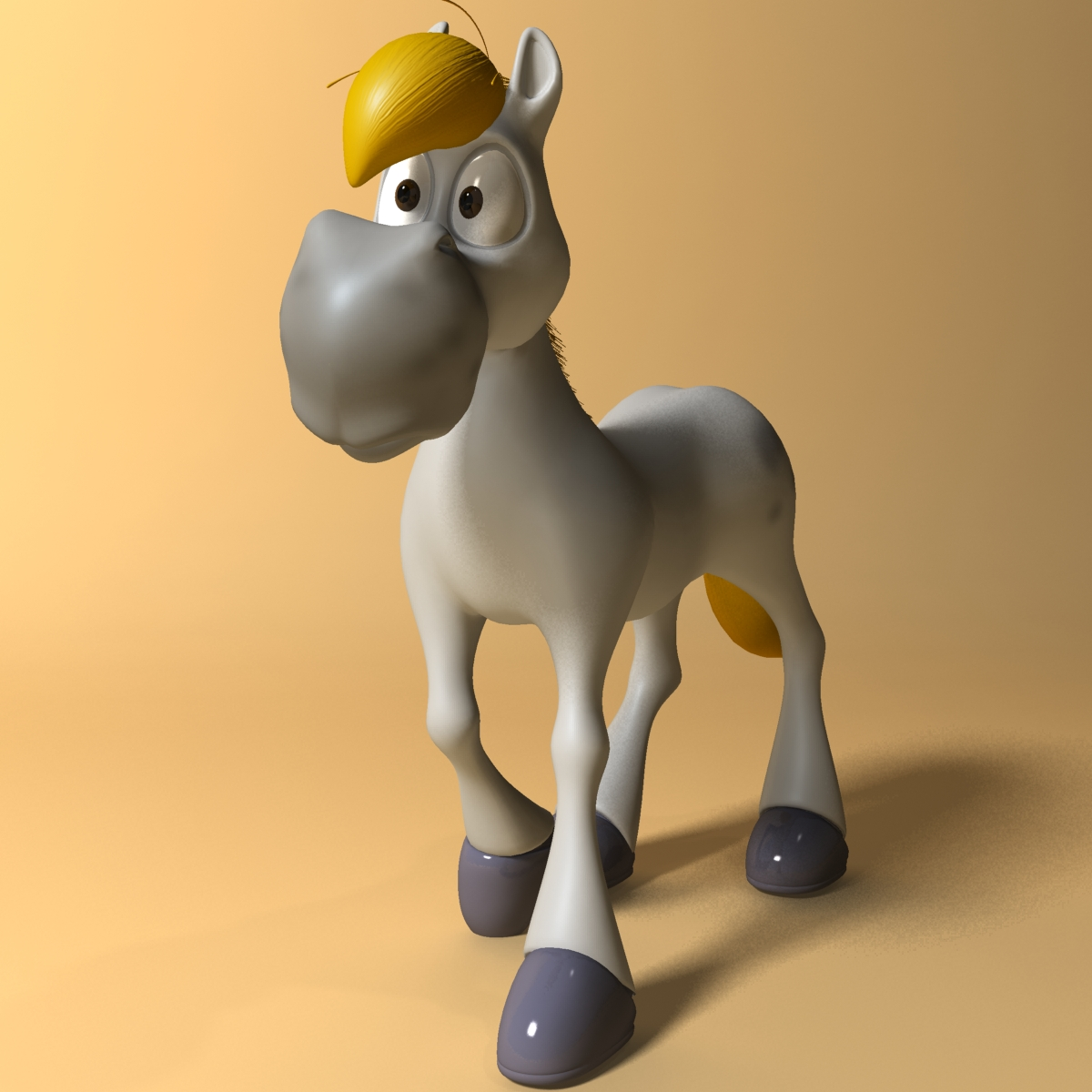 cartoon horse rigged and animated 3d model 3ds max fbx dgn 218090