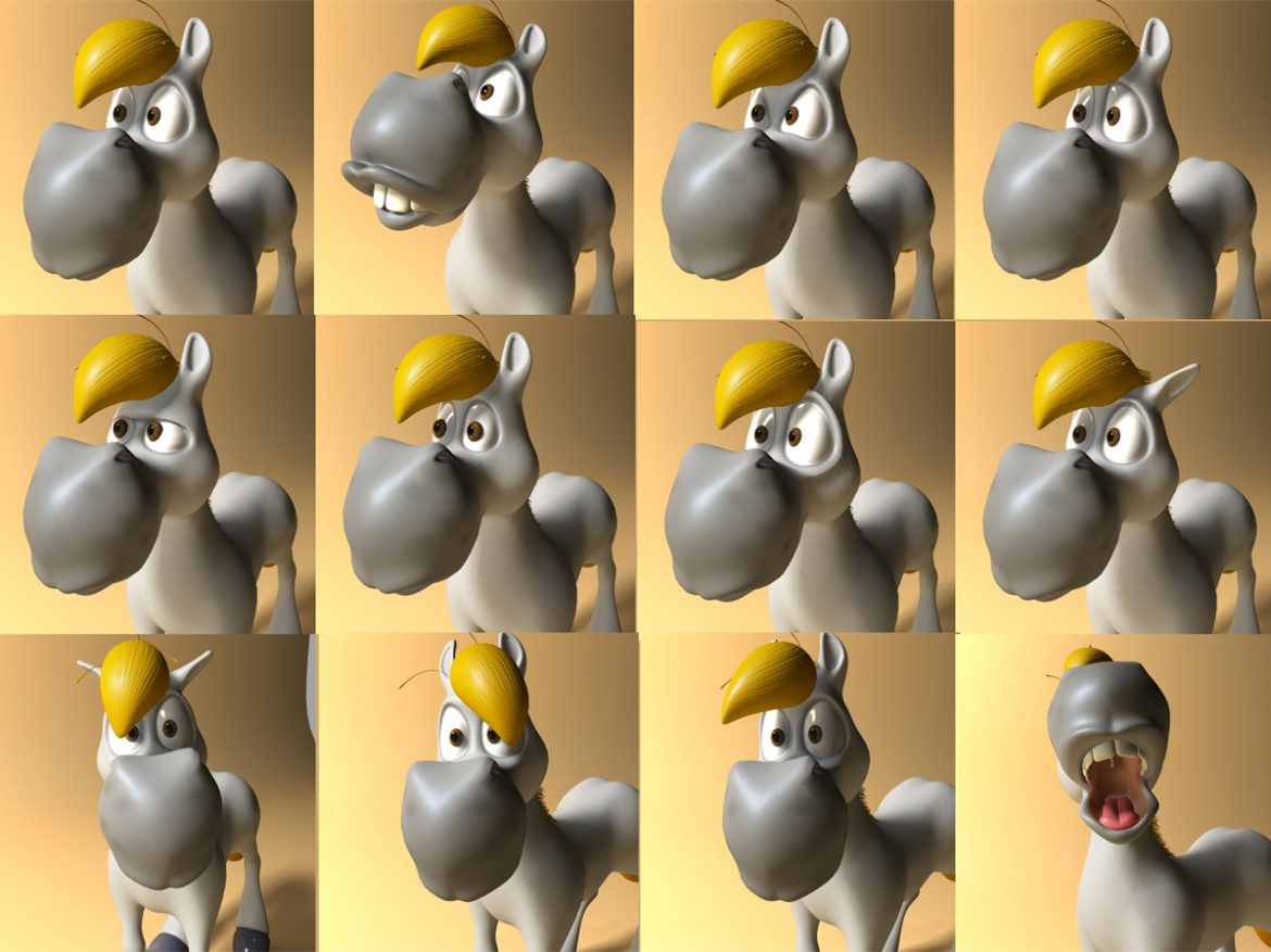 cartoon horse rigged and animated 3d model 3ds max fbx dgn 218092
