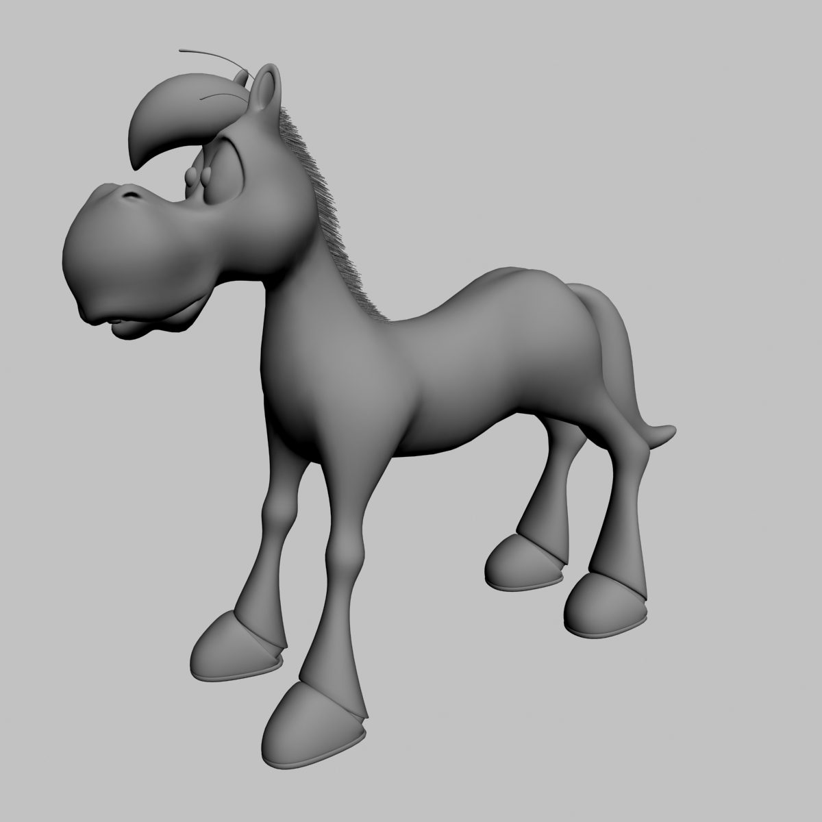 cartoon horse rigged and animated 3d model 3ds max fbx dgn 218095