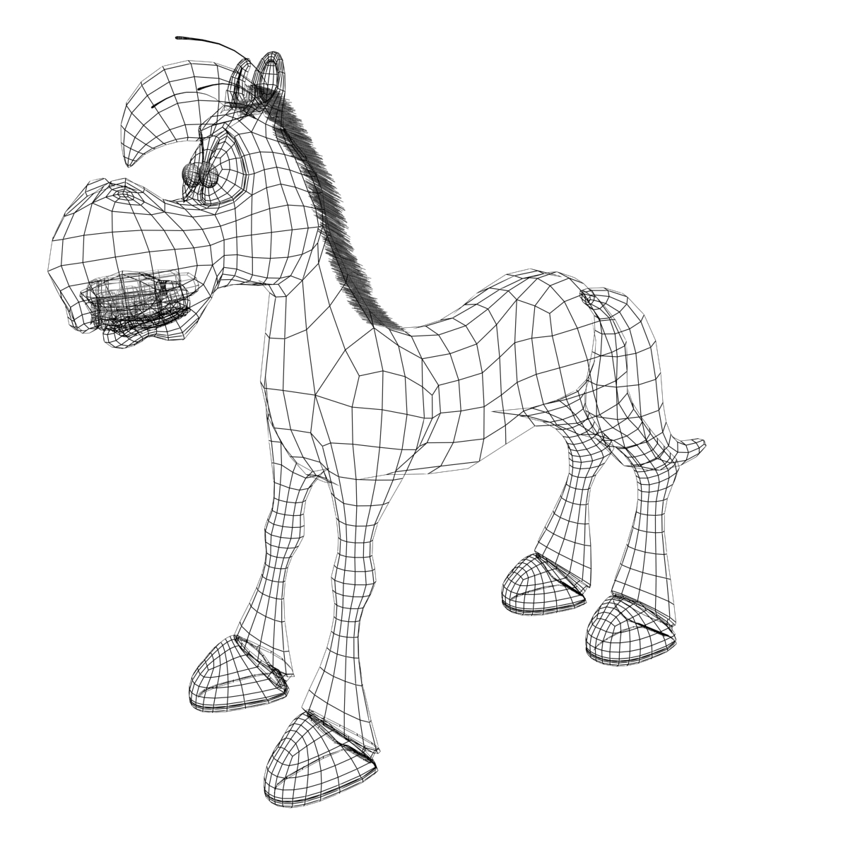 cartoon horse rigged and animated 3d model 3ds max fbx dgn 218096