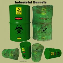 Industrial Barrels FBX and OBJ 3d model 0