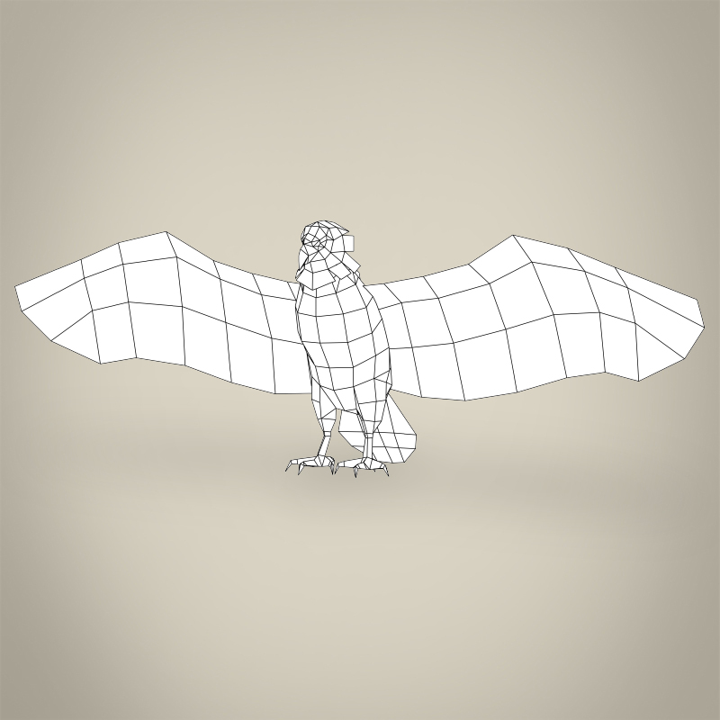 low poly realistic eagle 3d model 3ds max fbx c4d lwo ma mb obj 218197
