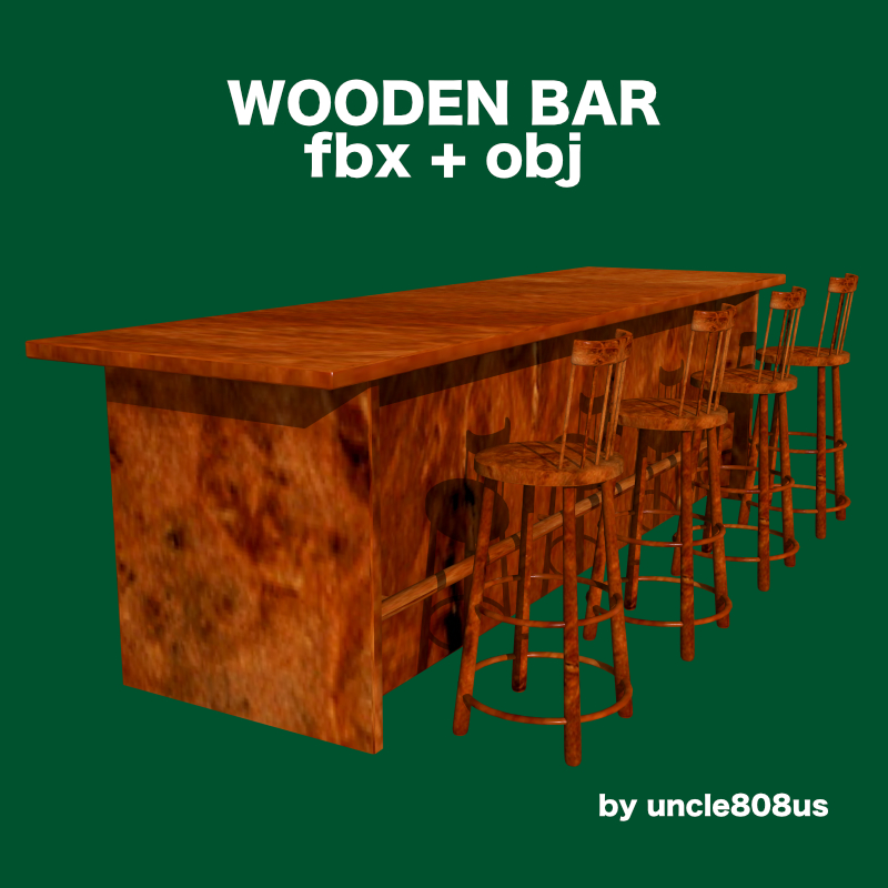 bar and stool fbx and obj 3d model fbx 218215