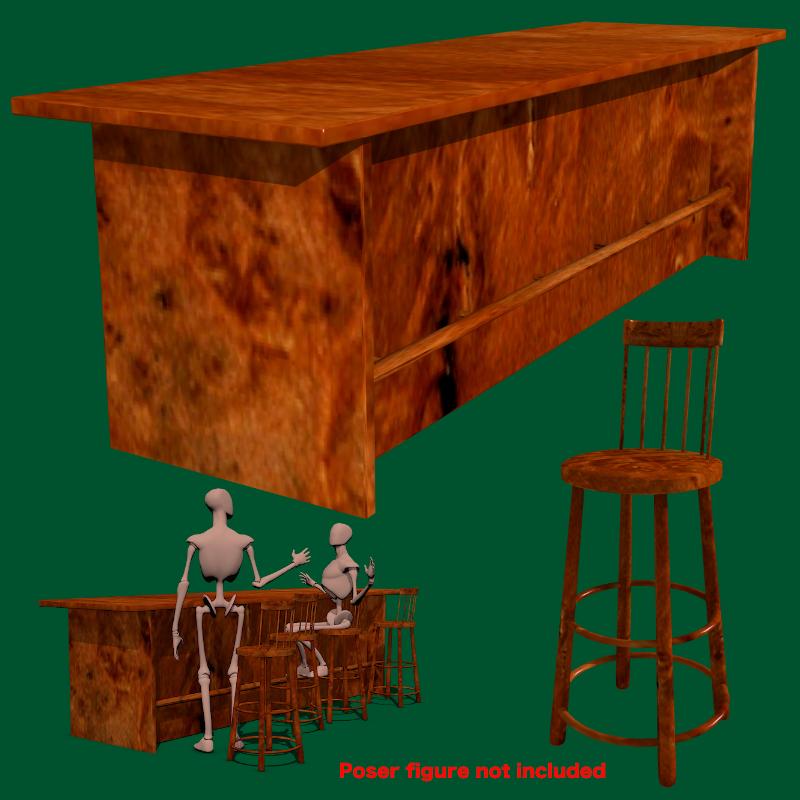 bar and stool fbx and obj 3d model fbx 218216