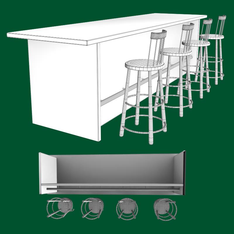 bar and stool fbx and obj 3d model fbx 218217