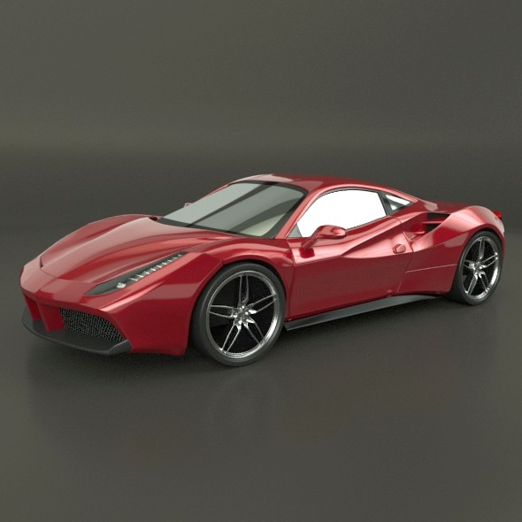 ferrari 488 gtb sports car restyled 3d model 3ds fbx blend dae lwo obj 218235