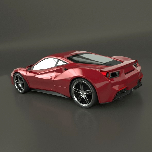 ferrari 488 gtb sports car restyled 3d model 3ds fbx blend dae lwo obj 218238
