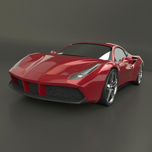 ferrari 488 gtb sports car restyled 3d model 3ds fbx blend dae lwo obj 218240