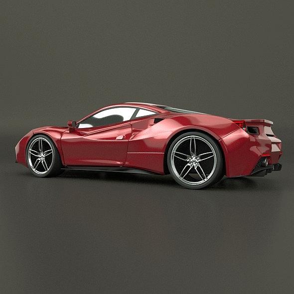 ferrari 488 gtb sports car restyled 3d model 3ds fbx blend dae lwo obj 218242