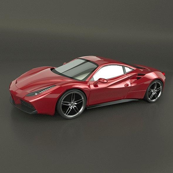 ferrari 488 gtb sports car restyled 3d model 3ds fbx blend dae lwo obj 218243