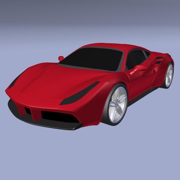ferrari 488 gtb sports car restyled 3d model 3ds fbx blend dae lwo obj 218244