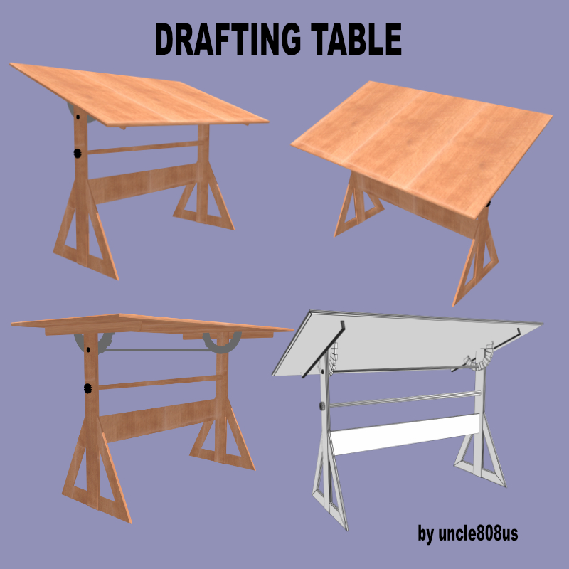 drafting table fbx + obj 3d model fbx 218270