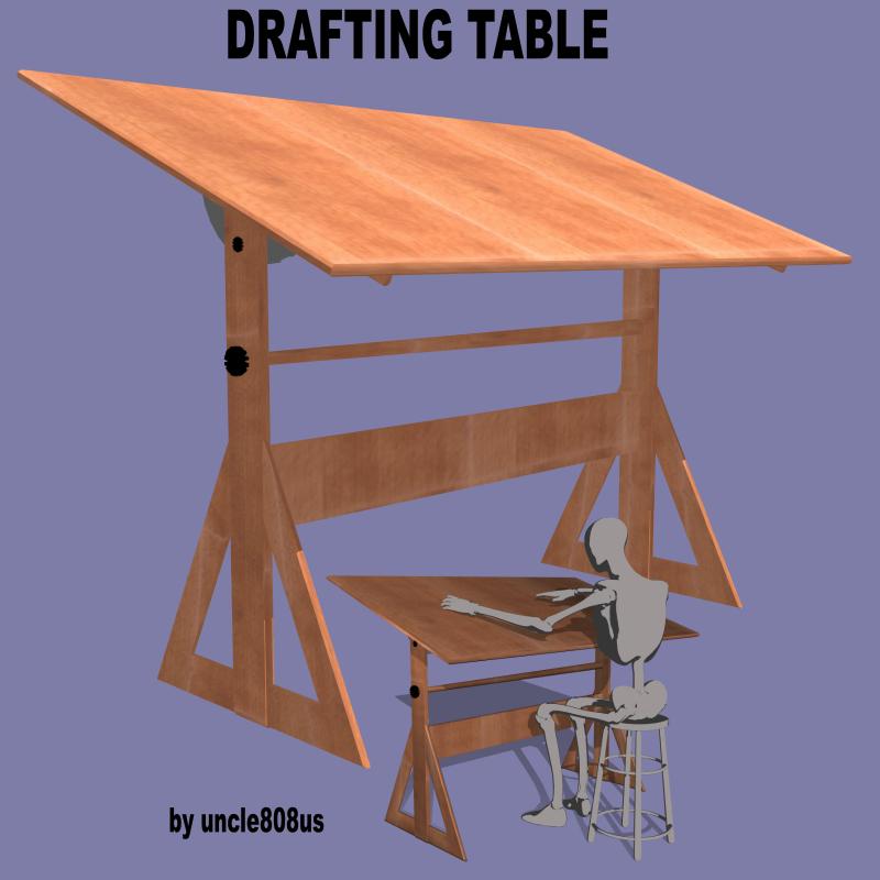 drafting table fbx + obj 3d model fbx 218271