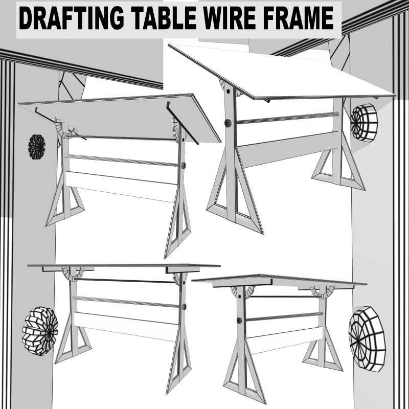 drafting table fbx + obj 3d model fbx 218272