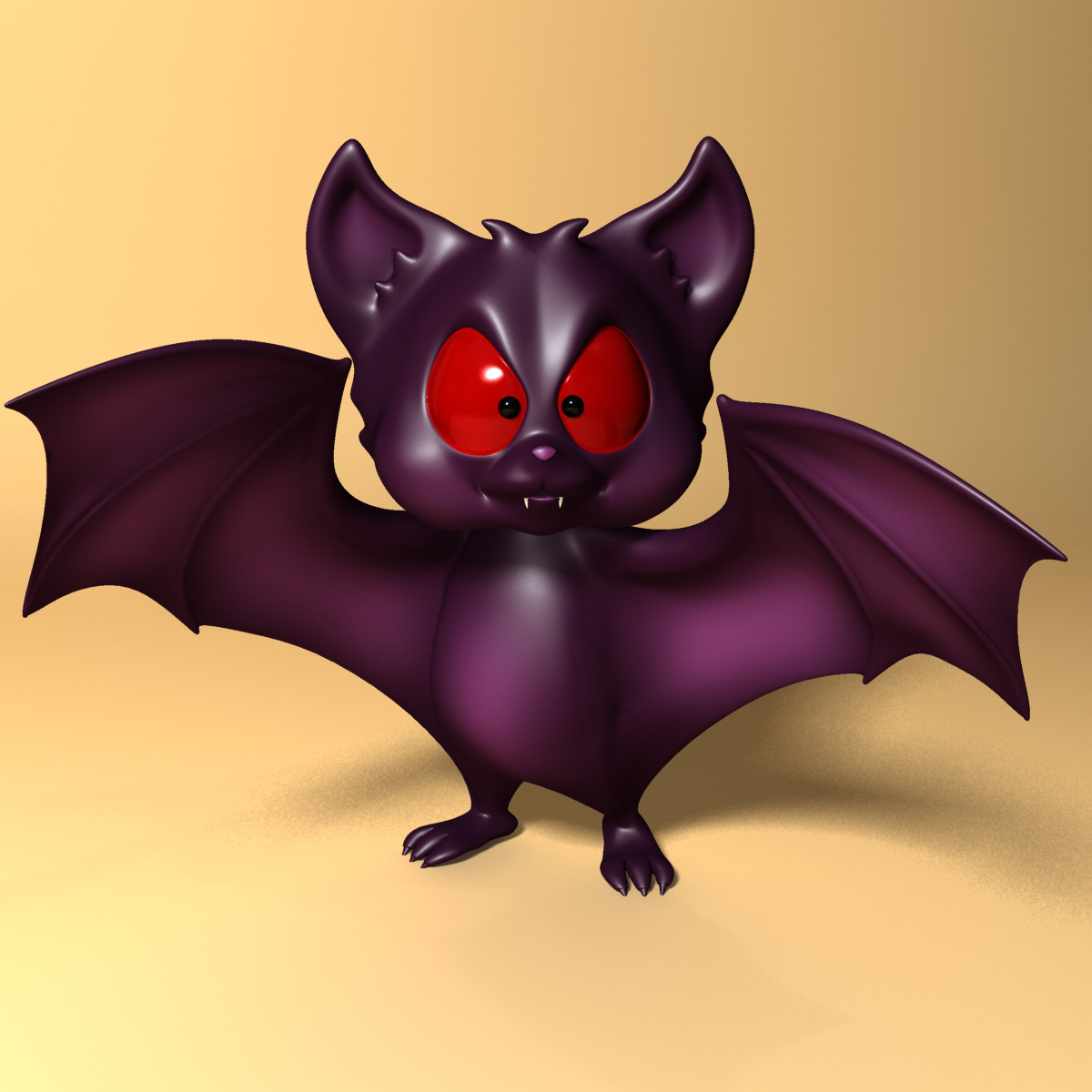 cartoon bat rigged and animated 3d model 3ds max fbx obj 218274