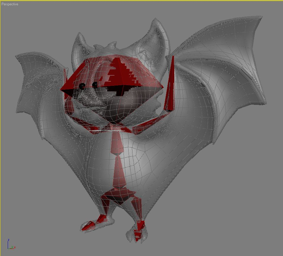 cartoon bat rigged and animated 3d model 3ds max fbx  obj 218281