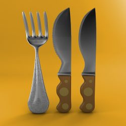 Cartoon - Fork - Knife - Toothed Knife 3d model 0