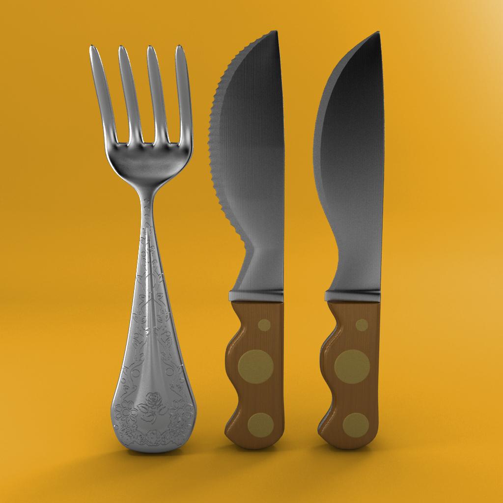 cartoon - fork - knife - toothed knife 3d model – buy cartoon - fork