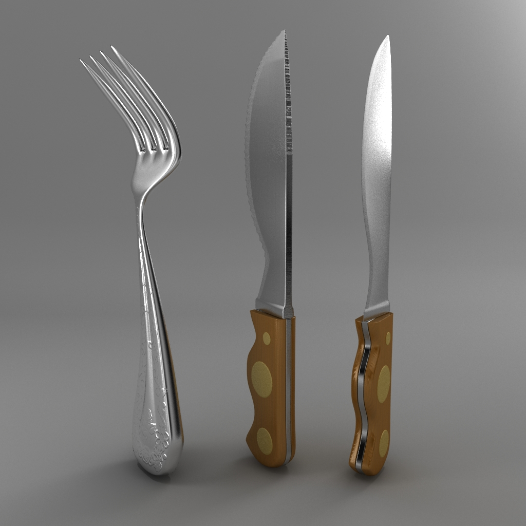 cartoon – fork – knife – toothed knife 3d model 3ds max fbx blend texture obj 218376