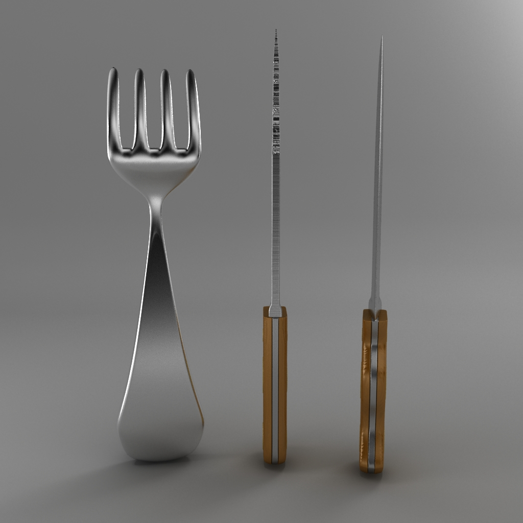 cartoon – fork – knife – toothed knife 3d model 3ds max fbx blend texture obj 218377