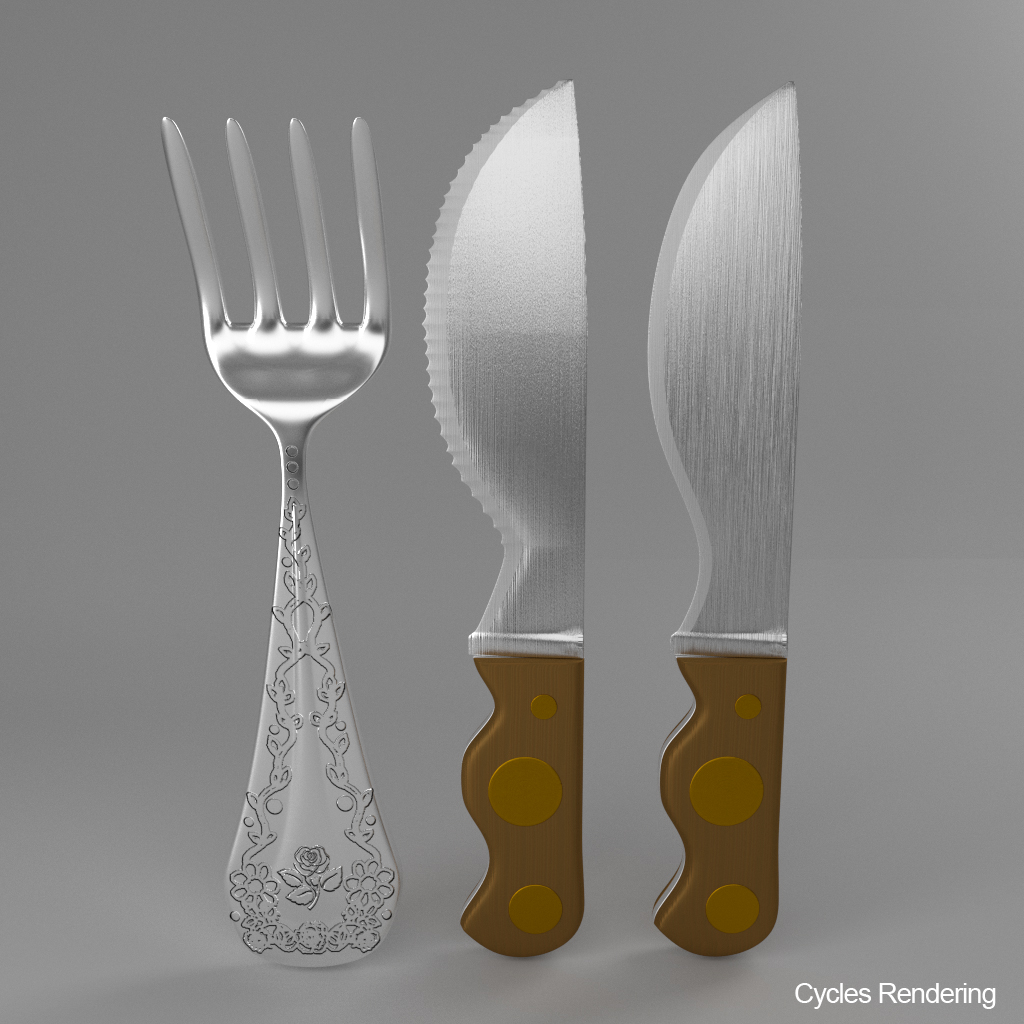 cartoon – fork – knife – toothed knife 3d model 3ds max fbx blend texture obj 218379