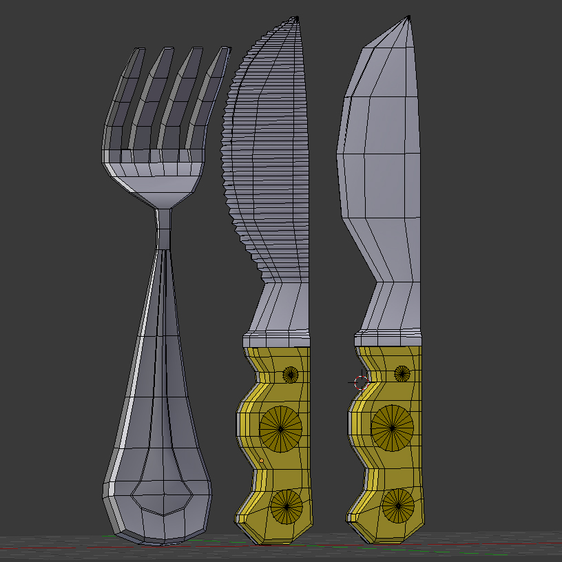 cartoon – fork – knife – toothed knife 3d model 3ds max fbx blend texture obj 218380