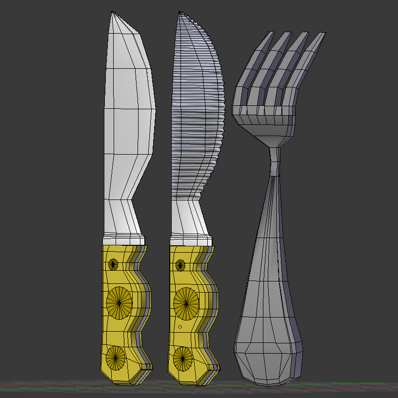 cartoon – fork – knife – toothed knife 3d model 3ds max fbx blend texture obj 218381