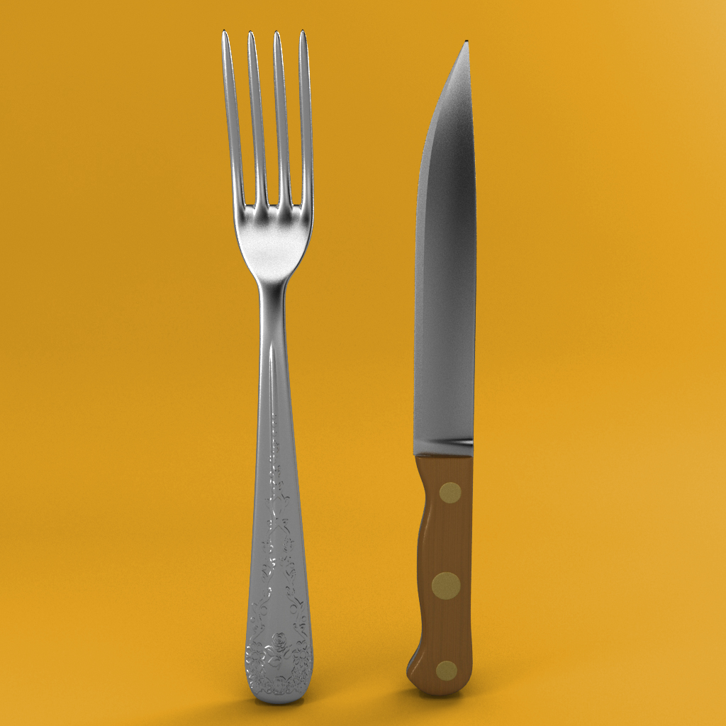 fork and wood handle pisau 3d model 3ds max fbx blend jpeg jpg gambar 218396