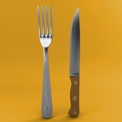 Fork and Wood Handle Knife 3d model 0
