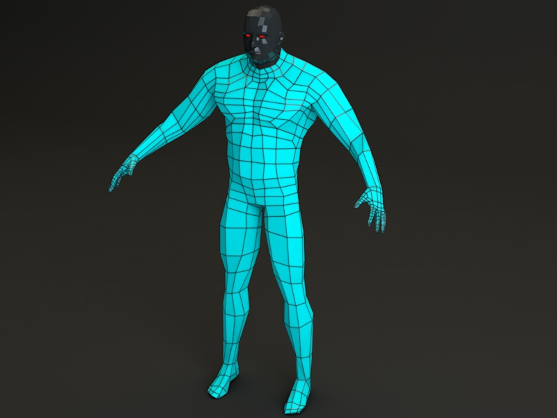 futuristic male human game character 3d model 3ds fbx c4d dae obj 218621
