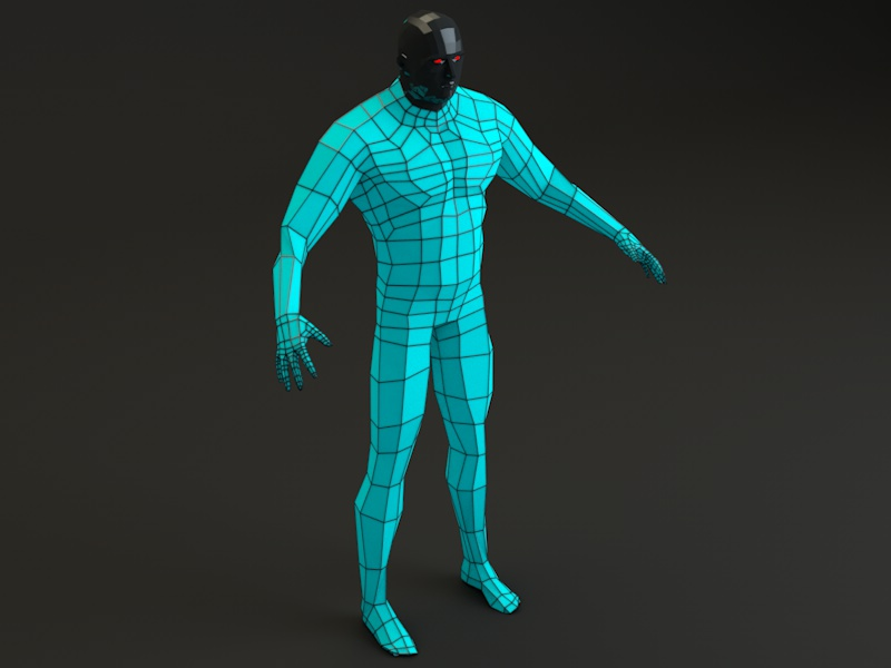 futuristic male human game character 3d model 3ds fbx c4d dae obj 218622