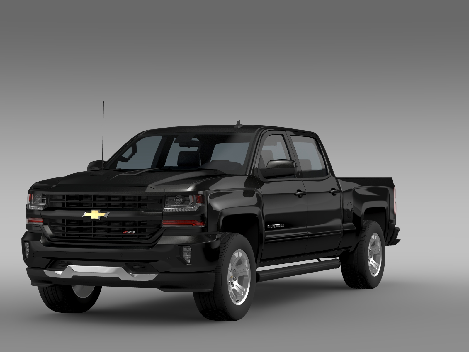 chevrolet silverado lt z71 crew cab gmtk2 standart 3d model buy chevrolet silverado lt z71. Black Bedroom Furniture Sets. Home Design Ideas